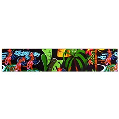 Hawaiian Girls Black Flower Floral Summer Flano Scarf (small) by Mariart