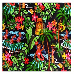 Hawaiian Girls Black Flower Floral Summer Large Satin Scarf (square) by Mariart