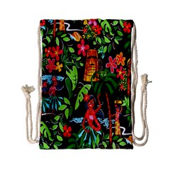Hawaiian Girls Black Flower Floral Summer Drawstring Bag (small)