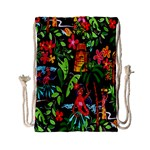 Hawaiian Girls Black Flower Floral Summer Drawstring Bag (Small) Back