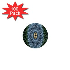 Hipnotic Star Space White Green 1  Mini Buttons (100 Pack)  by Mariart
