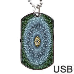 Hipnotic Star Space White Green Dog Tag Usb Flash (two Sides) by Mariart