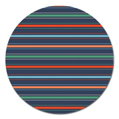 Horizontal Line Blue Green Magnet 5  (round)