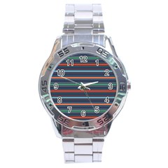 Horizontal Line Blue Green Stainless Steel Analogue Watch by Mariart