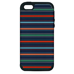 Horizontal Line Blue Green Apple Iphone 5 Hardshell Case (pc+silicone) by Mariart