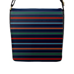 Horizontal Line Blue Green Flap Messenger Bag (l)  by Mariart