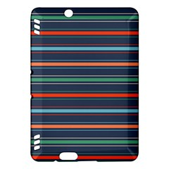 Horizontal Line Blue Green Kindle Fire Hdx Hardshell Case by Mariart
