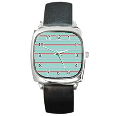 Horizontal Line Blue Red Square Metal Watch by Mariart
