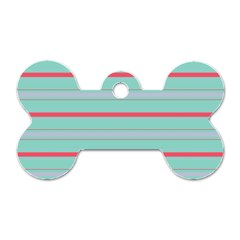 Horizontal Line Blue Red Dog Tag Bone (two Sides) by Mariart
