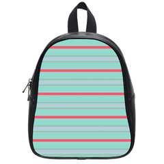 Horizontal Line Blue Red School Bag (small) by Mariart