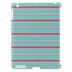 Horizontal Line Blue Red Apple Ipad 3/4 Hardshell Case (compatible With Smart Cover) by Mariart
