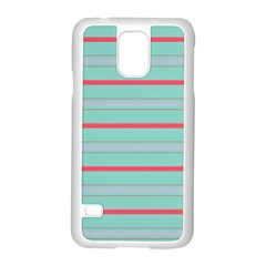 Horizontal Line Blue Red Samsung Galaxy S5 Case (white) by Mariart