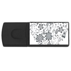 Grayscale Floral Heart Background Rectangular Usb Flash Drive by Mariart
