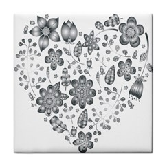 Grayscale Floral Heart Background Face Towel
