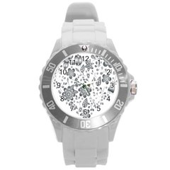 Grayscale Floral Heart Background Round Plastic Sport Watch (l) by Mariart