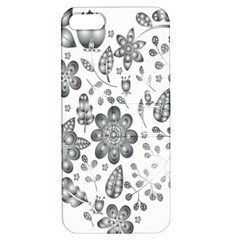 Grayscale Floral Heart Background Apple Iphone 5 Hardshell Case With Stand by Mariart