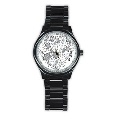 Grayscale Floral Heart Background Stainless Steel Round Watch by Mariart