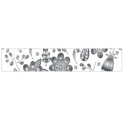 Grayscale Floral Heart Background Flano Scarf (large) by Mariart