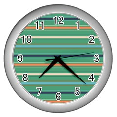 Horizontal Line Green Red Orange Wall Clocks (silver)  by Mariart