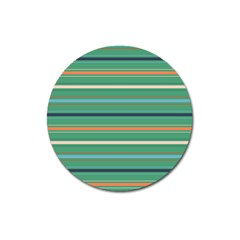 Horizontal Line Green Red Orange Magnet 3  (round) by Mariart
