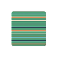 Horizontal Line Green Red Orange Square Magnet