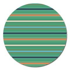 Horizontal Line Green Red Orange Magnet 5  (round) by Mariart
