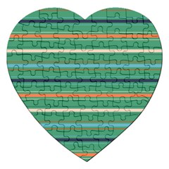 Horizontal Line Green Red Orange Jigsaw Puzzle (heart) by Mariart