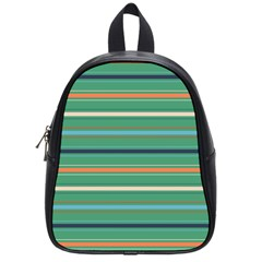 Horizontal Line Green Red Orange School Bag (small) by Mariart