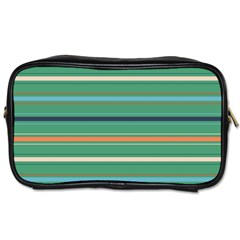 Horizontal Line Green Red Orange Toiletries Bags 2 Side by Mariart