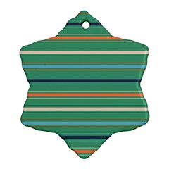 Horizontal Line Green Red Orange Ornament (snowflake) by Mariart