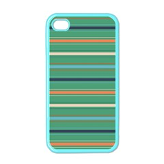 Horizontal Line Green Red Orange Apple Iphone 4 Case (color) by Mariart