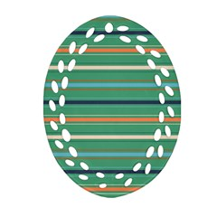Horizontal Line Green Red Orange Ornament (oval Filigree) by Mariart