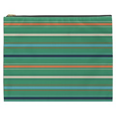Horizontal Line Green Red Orange Cosmetic Bag (xxxl)  by Mariart