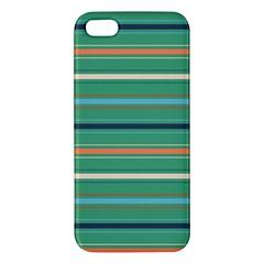 Horizontal Line Green Red Orange Apple Iphone 5 Premium Hardshell Case by Mariart