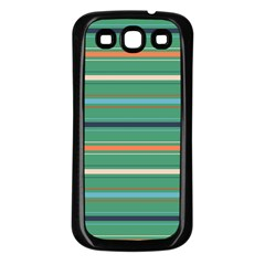 Horizontal Line Green Red Orange Samsung Galaxy S3 Back Case (black) by Mariart