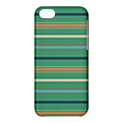 Horizontal Line Green Red Orange Apple Iphone 5c Hardshell Case by Mariart