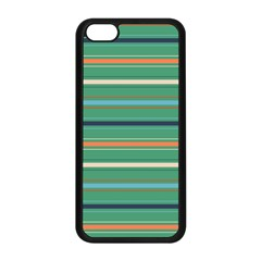 Horizontal Line Green Red Orange Apple Iphone 5c Seamless Case (black) by Mariart