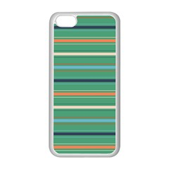 Horizontal Line Green Red Orange Apple Iphone 5c Seamless Case (white) by Mariart