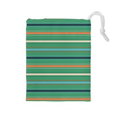 Horizontal Line Green Red Orange Drawstring Pouches (large)  by Mariart