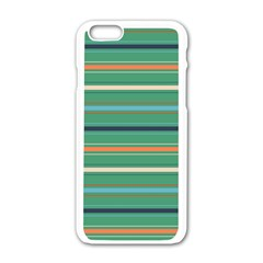 Horizontal Line Green Red Orange Apple Iphone 6/6s White Enamel Case by Mariart