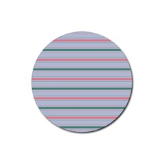 Horizontal Line Green Pink Gray Rubber Coaster (round)