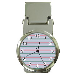 Horizontal Line Green Pink Gray Money Clip Watches by Mariart