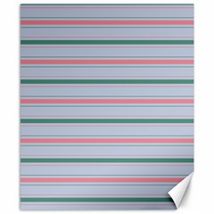Horizontal Line Green Pink Gray Canvas 8  X 10  by Mariart