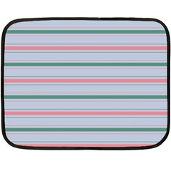 Horizontal Line Green Pink Gray Double Sided Fleece Blanket (mini)  by Mariart