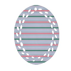 Horizontal Line Green Pink Gray Oval Filigree Ornament (two Sides) by Mariart