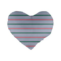 Horizontal Line Green Pink Gray Standard 16  Premium Flano Heart Shape Cushions by Mariart