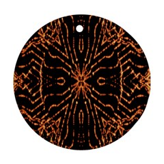 Golden Fire Pattern Polygon Space Ornament (round) by Mariart