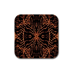 Golden Fire Pattern Polygon Space Rubber Square Coaster (4 Pack)  by Mariart