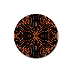 Golden Fire Pattern Polygon Space Rubber Coaster (round)  by Mariart