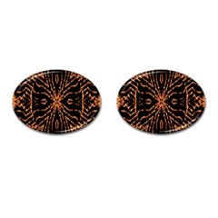 Golden Fire Pattern Polygon Space Cufflinks (oval) by Mariart